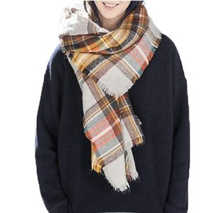 Orange Gray Blue Plaid Blanket Scarf